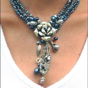 Jewelry - OOAK Pearl sterling silver flower & charm necklace